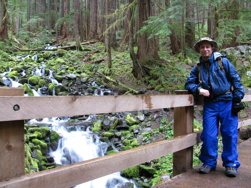 hiker by waterfall in rain in olympic national park