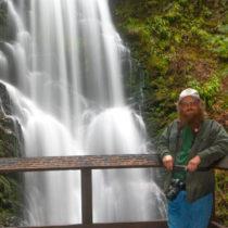Scott Peden in front of Berry Creek Falls in Big Basin