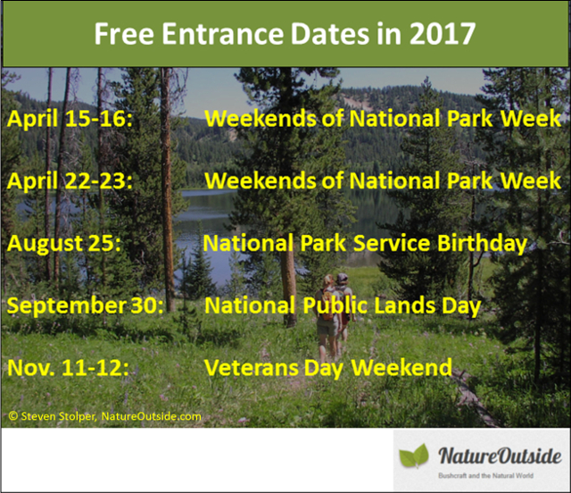 infographic dates of national park free entrance days