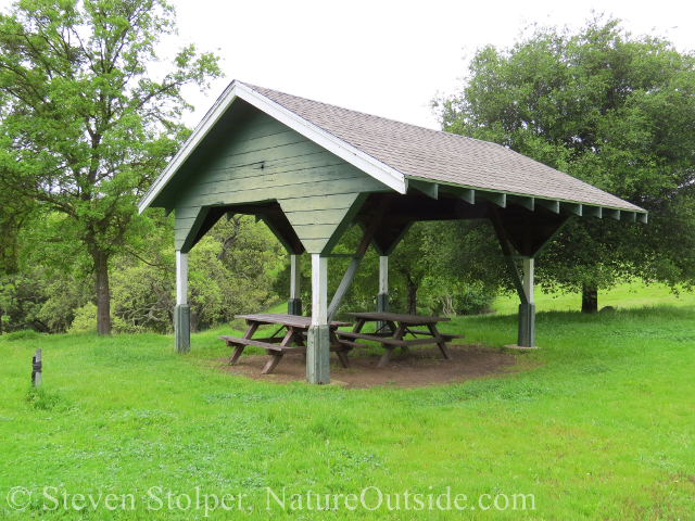 covered picnic tables at JB Ranch Sunol Regional Wilderness