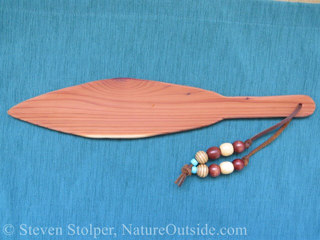 cedar ceremonial canoe paddle with beads