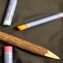 twig pencil and crayons