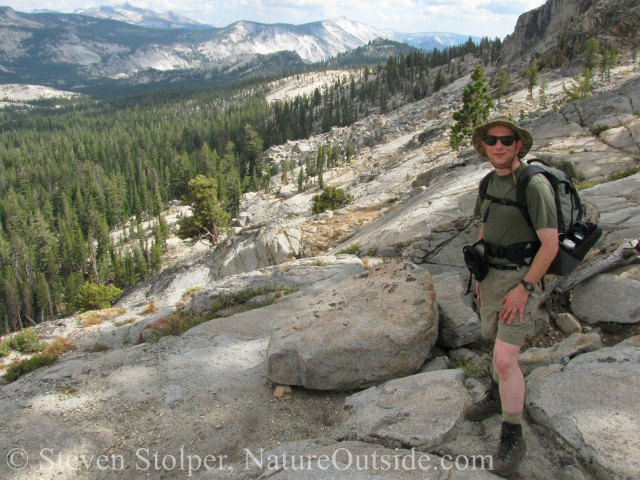 hiker in yosemite backcountry