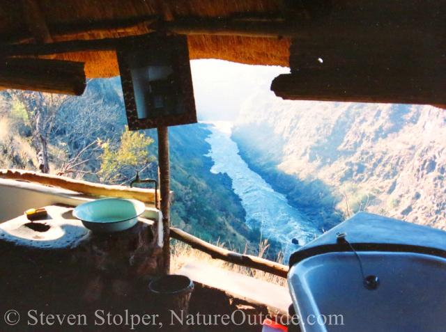 view from bath hut overlooking Zambezi