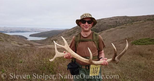 hiker holding elk antler shed